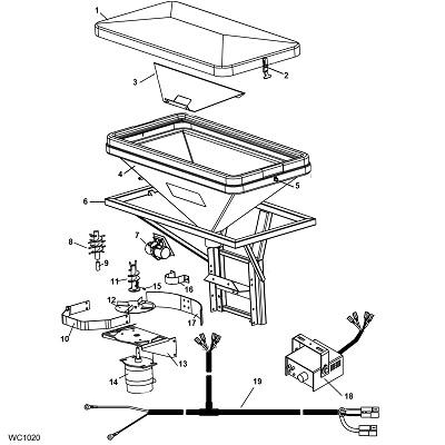 Meyer 750/750S Tailgate Salt Sand Spreader Parts Schematic Diagram