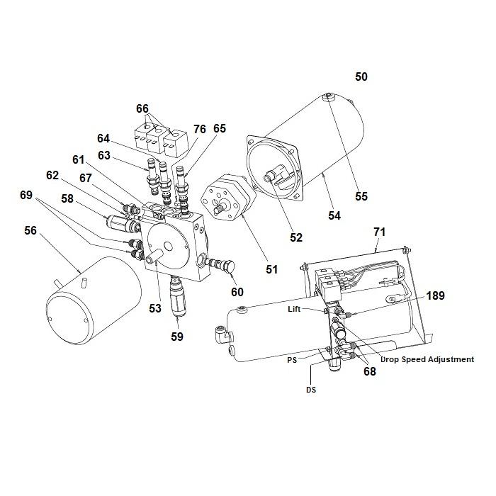 SnowDogg Straight Blade Plow  Hydraulic Unit Schematic