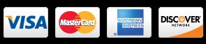 Visa, MasterCard, AMEX, Discover and JCB logos