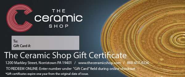 gift certificates ceramicists, gift cards for potter's, pottery supply gift card, gift voucher, gift card, the ceramic shop gift card