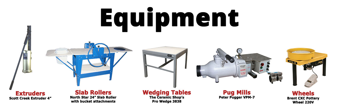 ceramic, studio, pottery, school, studio equipment, extruder, pug mill, peter pugger, shimpo, amaco, brent, scale, clay trap, north star, slab roller, spray booth, ware cart, wedging table
