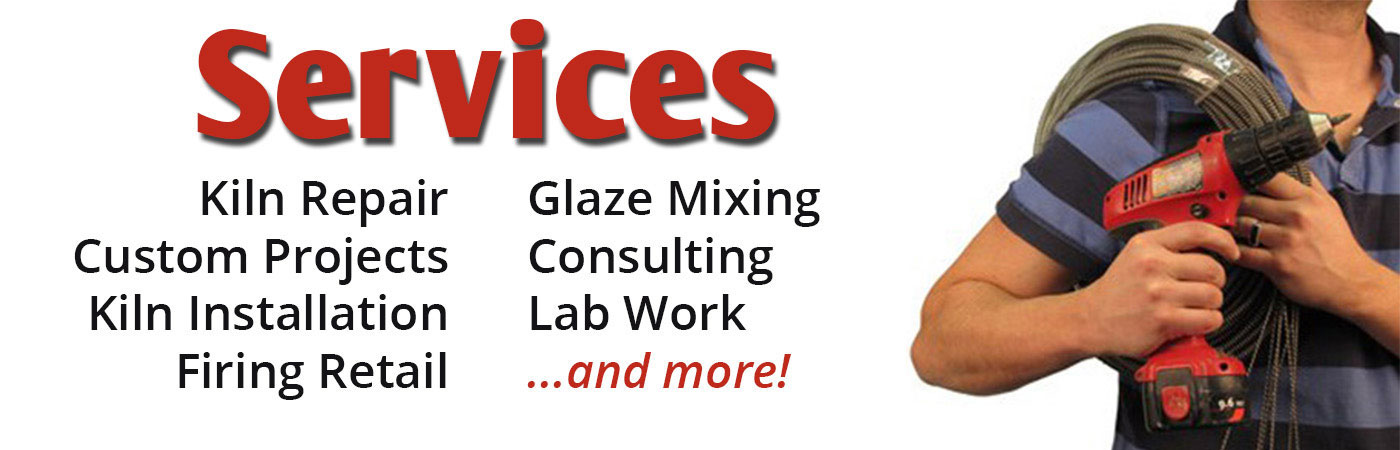 the ceramic shop services, firing retail, kiln installation, custom ceramic projects, glaze mixing, glaze testing
