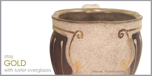 gold luster, luster overglaze, gold glaze, luster ceramic, luster pottery