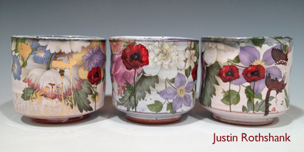 justin rothshank, rothshank, ceramics, pottery, surface decoration, decals, luster overglaze