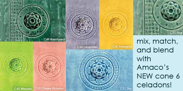 AMACO Cone 6 celadon glazes