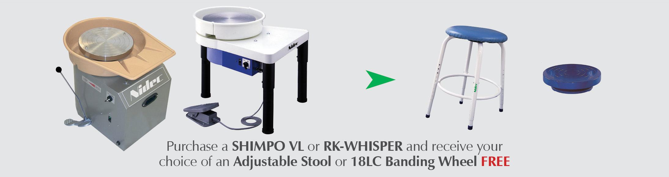 shimpo, pottery wheel, discounted, vl whisper, vl lite, rk whisper