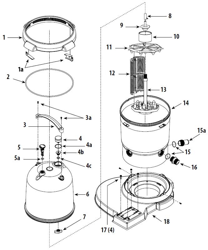 Waterway ClearWater II DE Cartridge Filter Diagram
