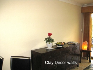 Clay Decor wall in a family room