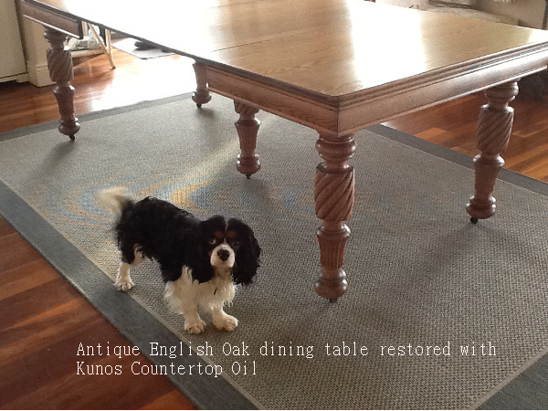 Antique English Oak dining table restored with Kunos Countertop Oil