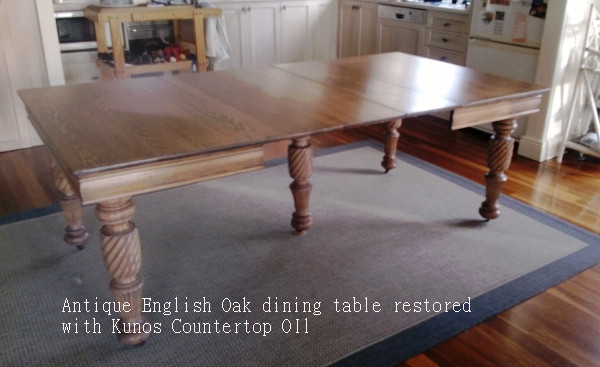 Suellen's antique English Oak dining table, restored with Kunos Countertop Oil