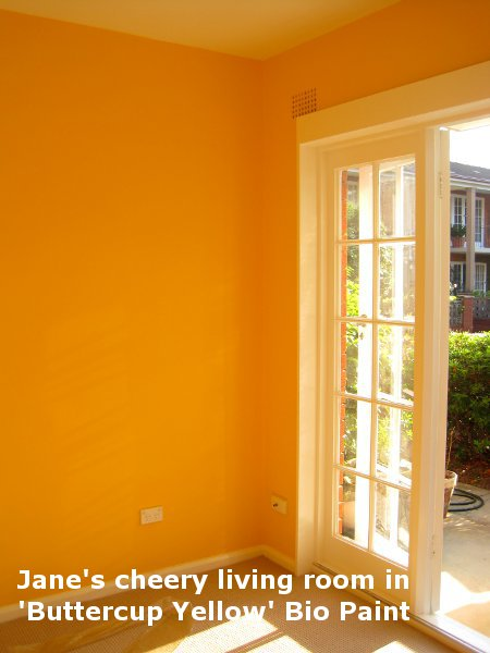 Jane's cheery living room in 'Buttercup Yellow' Bio Paint.