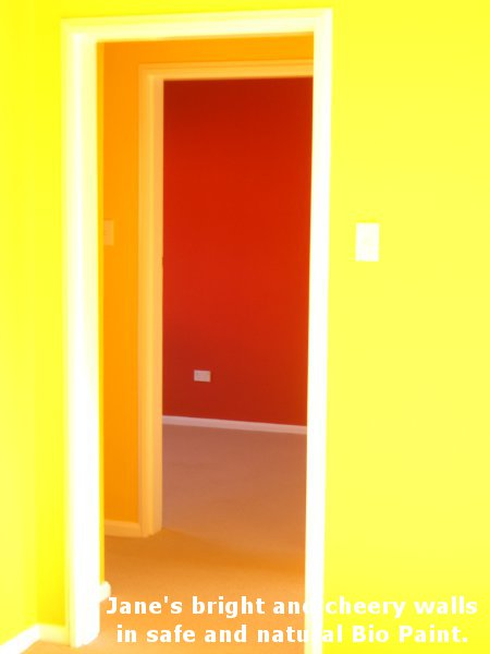 Jane's bright and cheery walls in safe and natural Bio Paint.