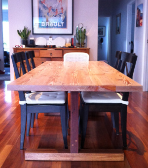 Kunos white on handmade oregon table made by Steve Marsh