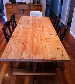 Top view, Kunos white on handmade oregon table made by Steve Marsh