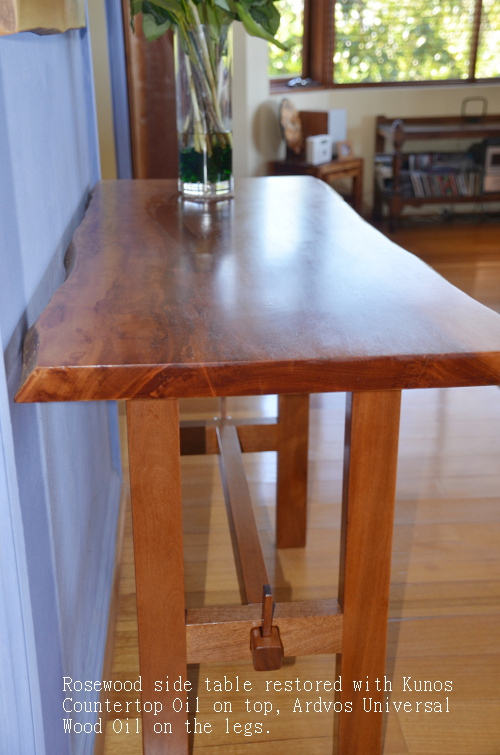 Rosewood furniture restored with Kunos Countertop Oil  and Ardvos Universal Wood Oil.