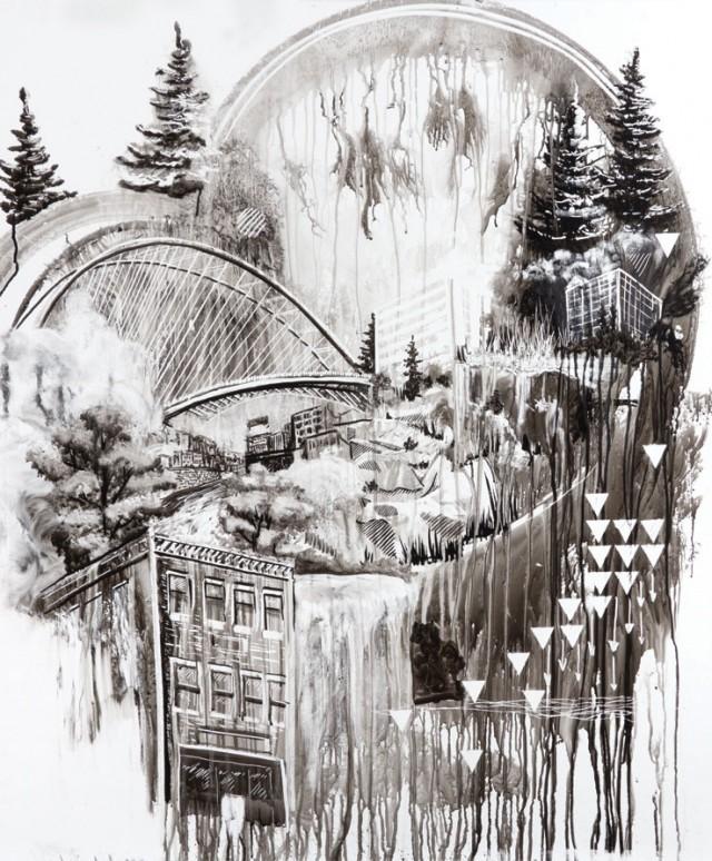 whiteboard scenery drawing