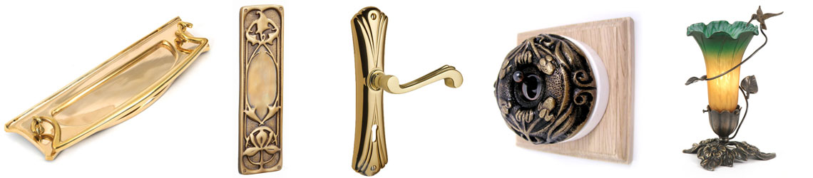 Examples of Art Nouveau architectural hardware and lighting