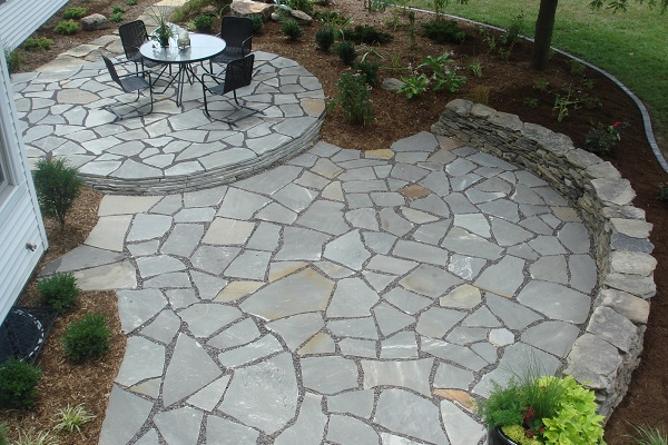 Flagstone retaining wall and patio