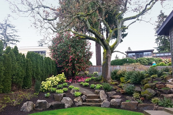 Flower Beds Accented with Boulders