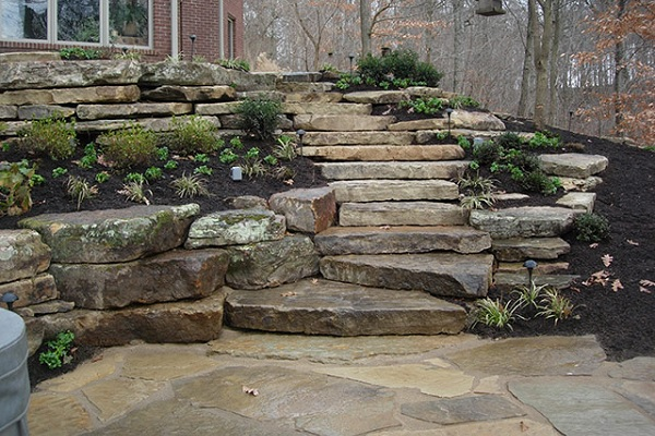 Ledge Rock Natural Steps and Retaining Wall at Angelo's Supplies