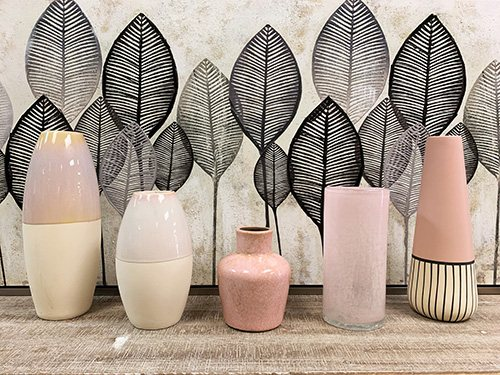five pink shades of vases