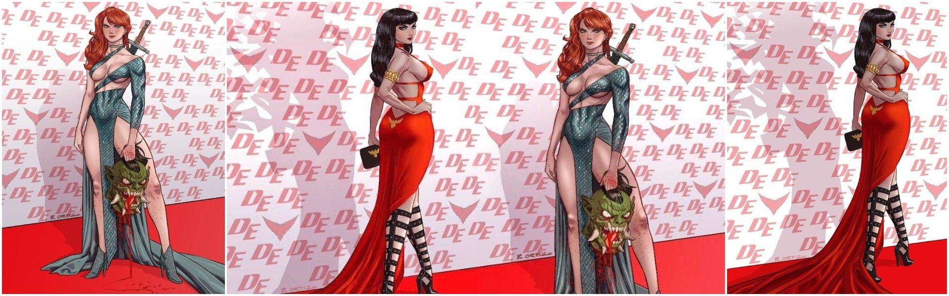 Vampirella and Red Sonja Richard Ortiz Red Carpet Variant Exclusives
