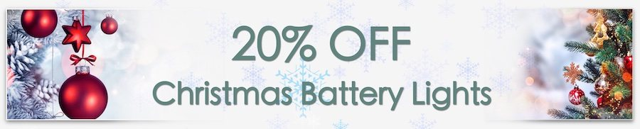 Christmas Decorations Sale. Clarkes of Bailieborough Sale. 20% off christmas battery lights