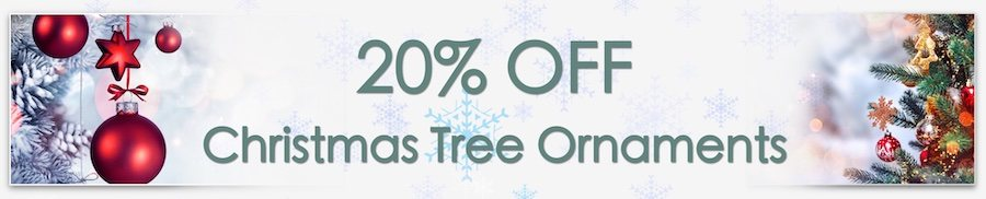 Christmas Decorations Sale. Clarkes of Bailieborough Sale. 20% off christmas tree ornaments