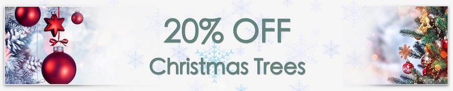 Christmas Decorations Sale. Clarkes of Bailieborough Sale. 20% off christmas trees