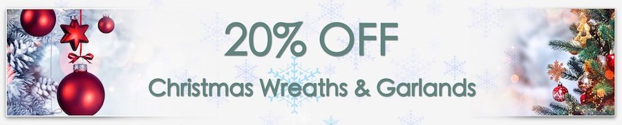 Christmas Decorations Sale. Clarkes of Bailieborough Sale. 20% off christmas wreaths & garlands