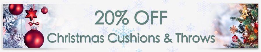 Christmas Decorations Sale. Clarkes of Bailieborough Sale. 20% off christmas cushions & throws