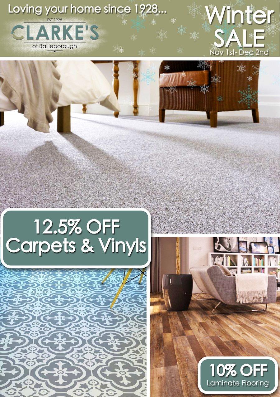 Clarke's of Bailieborough Winter Sale. 12.5% off carpets & vinyls. 10% OFF laminate flooring, balterio, quick step, kronopol