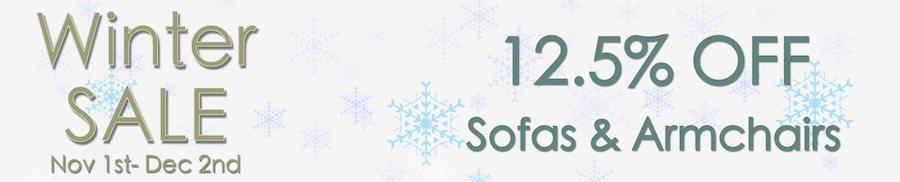 clarkes of bailieborough winter sale. 12.5% off  sofas & armchairs. sale