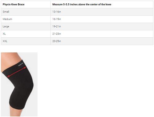 Back On Track + Physio Knee Brace Size Chart