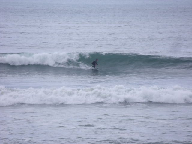 Nice overhead waves on the sand bank in front of the shop