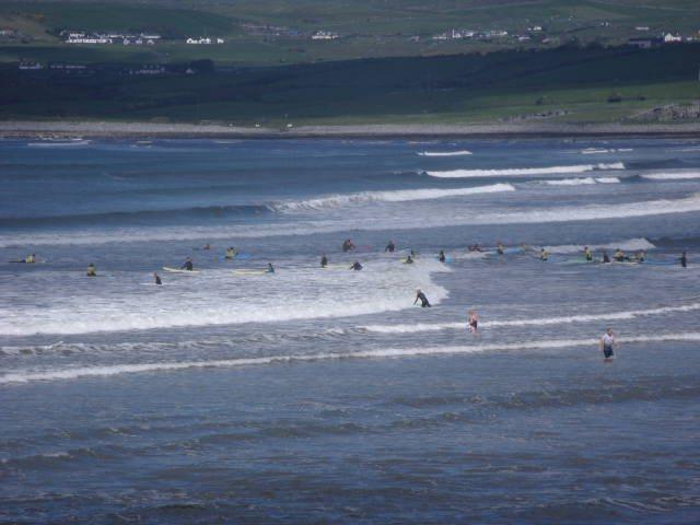 2 foot reasonably clean waves on the main beach