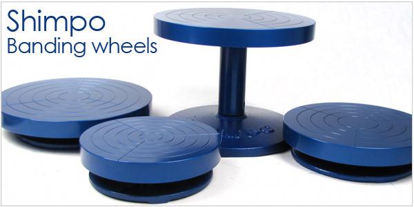 Shimpo banding wheels for pottery, handbuilding studios