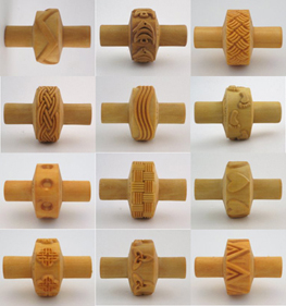 small wooden MKM stamp clay rollers for texture
