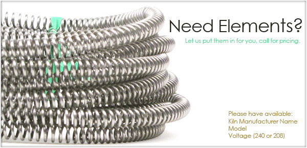 Kiln elements, Skutt elements, heating elements, Paragon elements, Skutt, Paragon, replacement elements, element pins, Coneart elements, L&L elements, Coneart, L&L, Olympic elements, Olympic, screws, AMACO elements, AMACO Excel, Excel, Excel elements