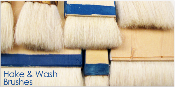 Hake and Wash brushes for ceramic and pottery supplies