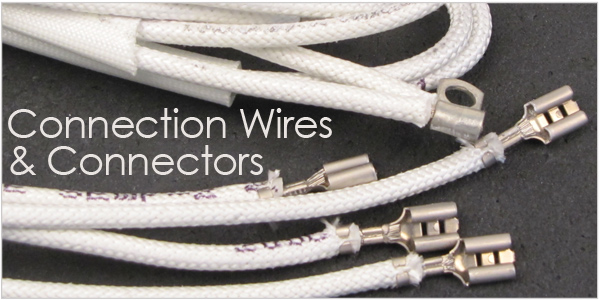 connection wire, connectors, kiln connectors, kiln connection wires, kiln wire, high temperature wire, feeder wire set, skutt element feeder, skutt element feeder wire, element butt connector, flag connector, paragon element connector, ring terminal, ring terminal high temperature, harness wore, bottom harness wire, control harness wire, wire set